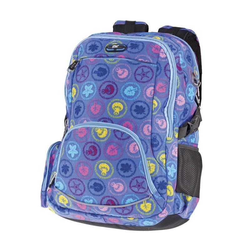 EASY - Batoh školní dvoukomorový fialový s barevným potiskem