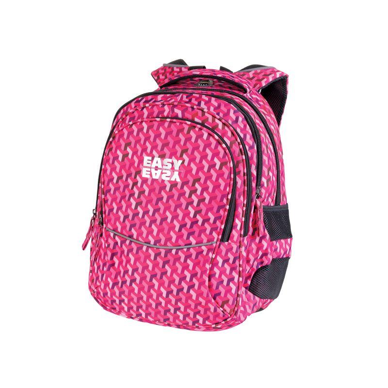 EASY - Batoh školní tříkomorový růžový vzor, profilovaná záda, 26 l