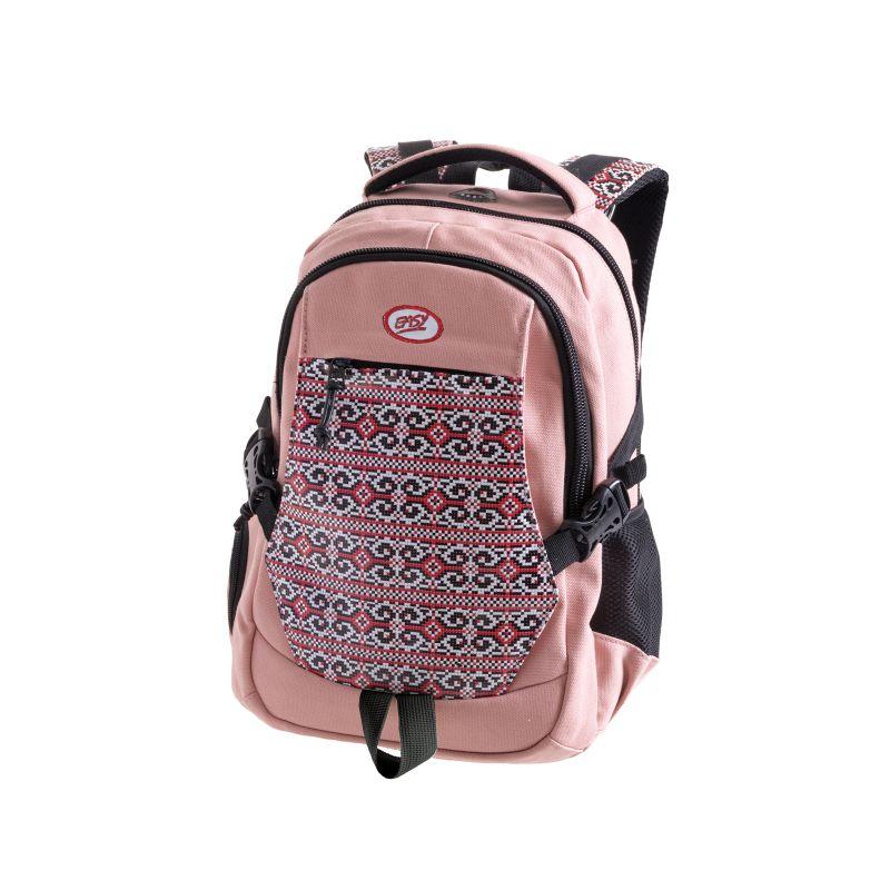 EASY - Batoh studentský dvoukomorový růžový, vzor na přední straně, bavlna, 26 l
