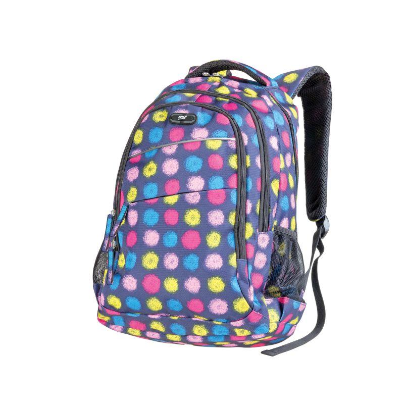 EASY - Batoh studentský tříkomorový modrý, barevné puntíky 26 l