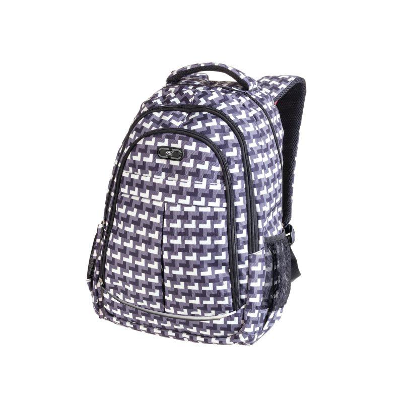 EASY - Batoh studentský tříkomorový šedo-bílý vzor 26 l