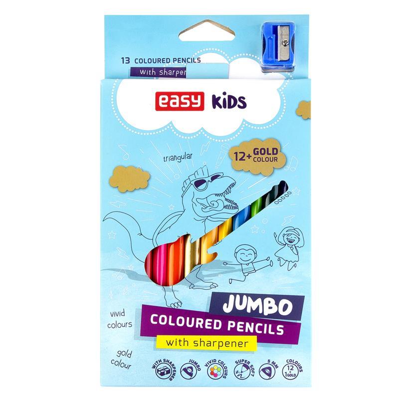 EASY - Trojhranné pastelky JUMBO 12 ks + 1 zlatá barva