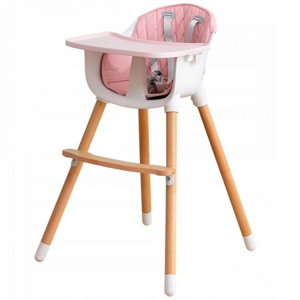 ECO TOYS - Dřevěná jídelní židlička 2v1 - růžová