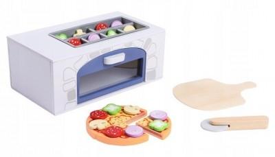 ECO TOYS - Dřevěná pizza pec + kuchyňské doplňky