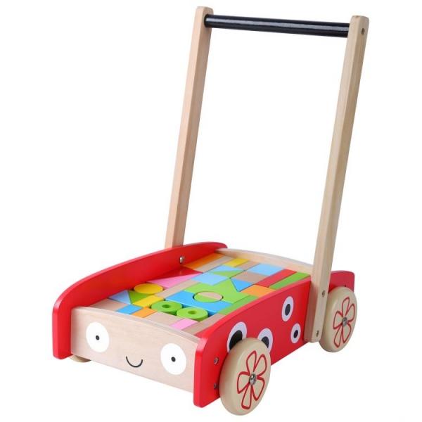 ECO TOYS - Dřevěný vozík s dřevěnými kostkami - Beruška