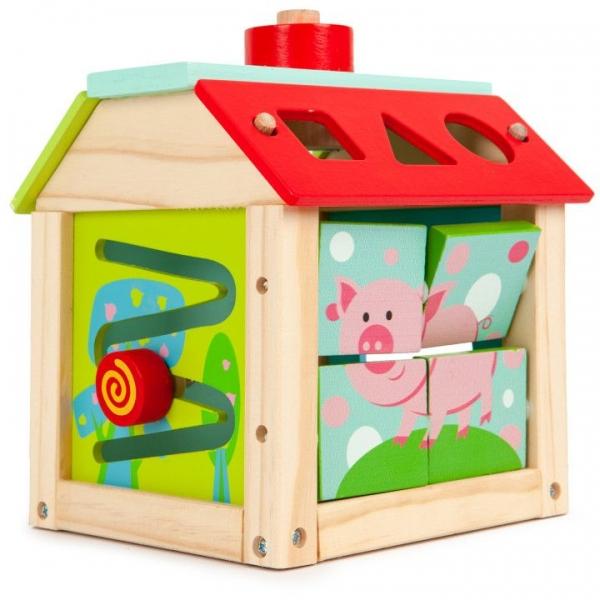 ECO TOYS - Edukační dřevěná kostka - Farma