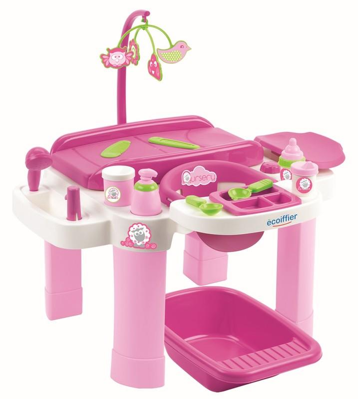 ECOIFFIER - Nursery Velké Přebalovací Centrum S Židličkou A Vaničkou Pro Panenky