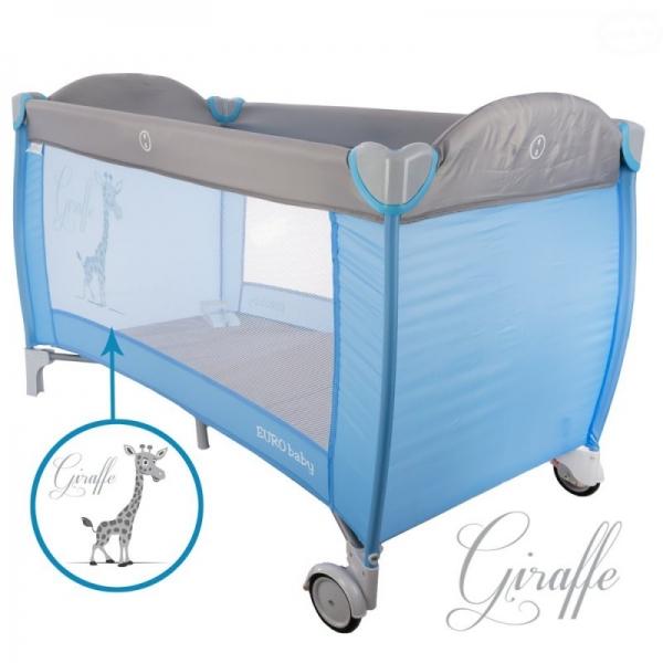 EURO BABY - Dětská cestovní postýlka Giraffe - šedá, modrá, Ce19
