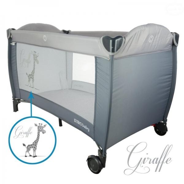 EURO BABY - Dětská cestovní postýlka Giraffe - šedá, Ce19