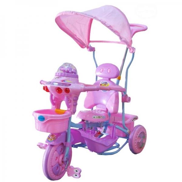 EURO BABY - Dětská multifunkční tříkolka Ufo - růžovo/fialová