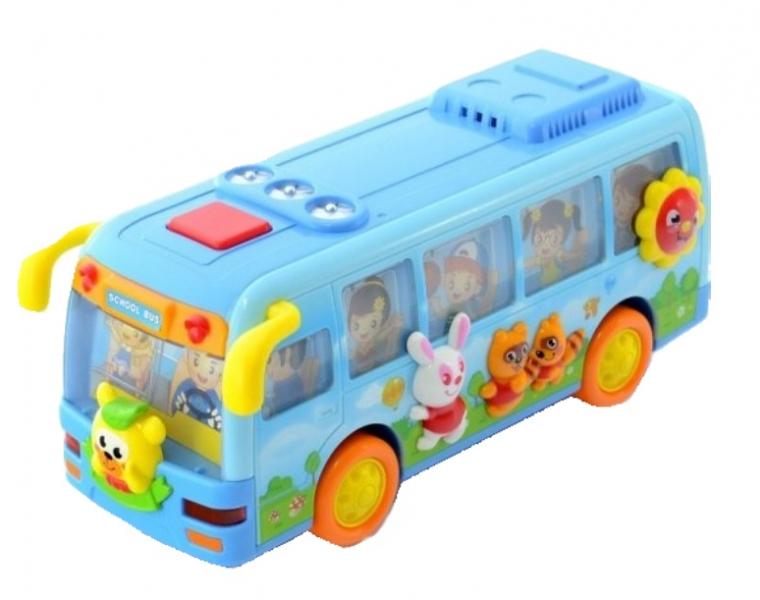 EURO BABY - Interaktivní hračka s melodii Autobus - světlo modrý