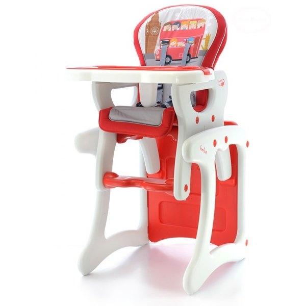 EURO BABY - Jídelní stoleček 2v1 - červený autobus, K19