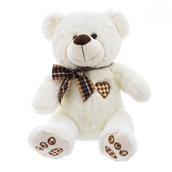 EURO BABY - Plyšový medvídek 43cm - bílo/smetanový