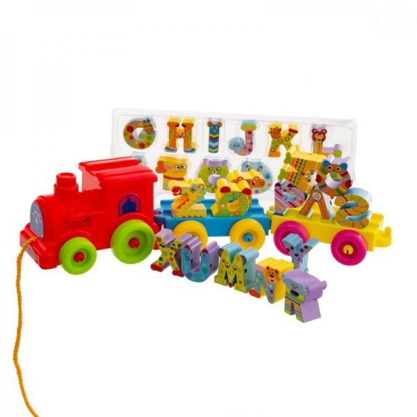 EURO BABY - Tahací hračka Vláček - abeceda