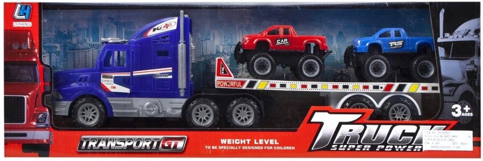 EURO-TRADE - Kamion s návěsem a 2 autíčky 40cm - žlutá