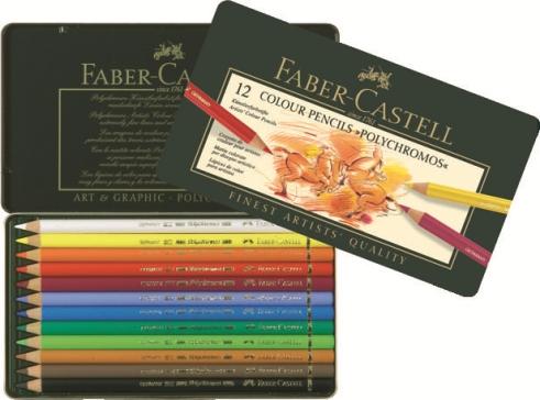 FABER CASTELL - Pastelky Polychromos set 12 ks - plech