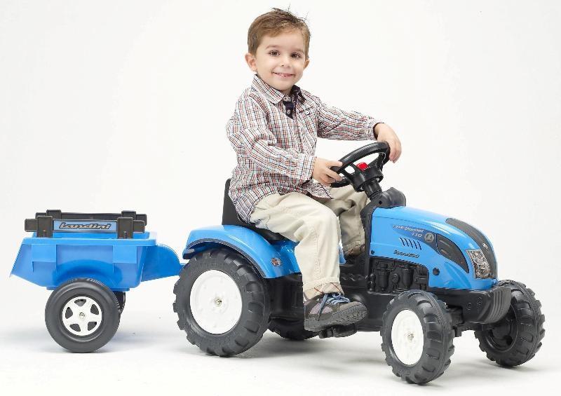 FALK - Šlapací traktor 2050C Landini Powermondial 110 s vlečkou