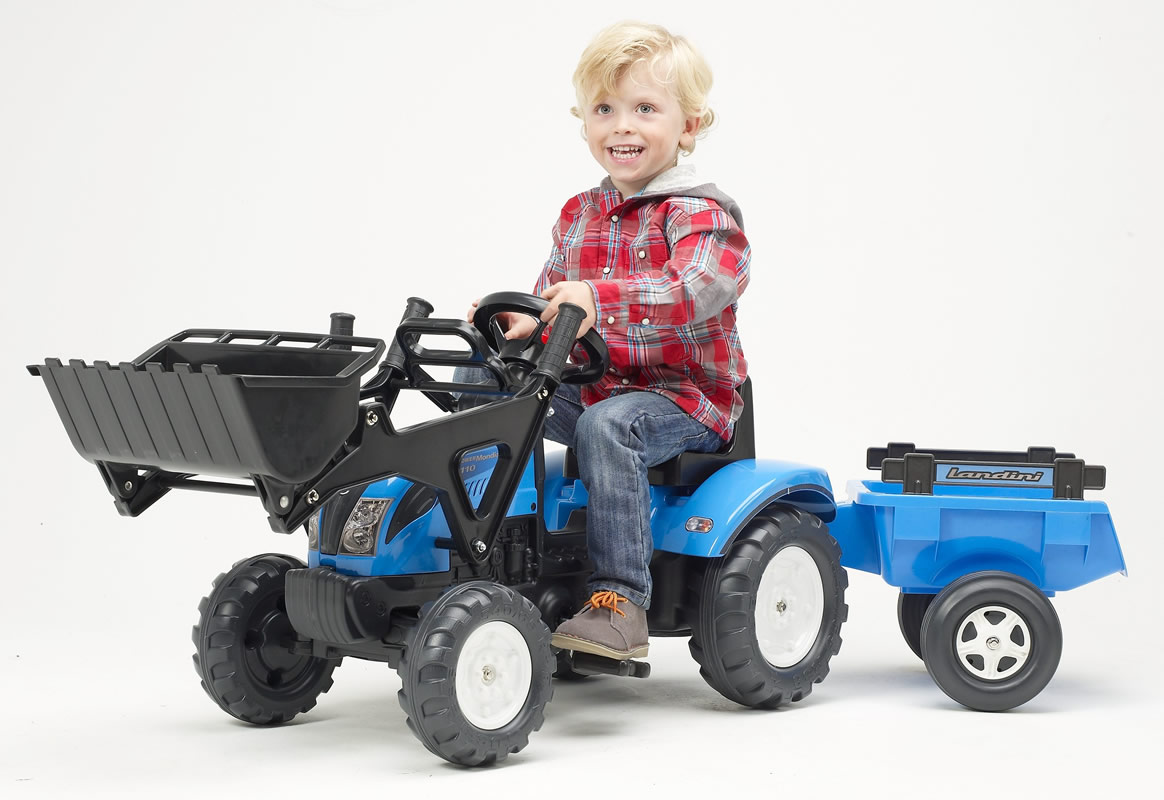 FALK - Šlapací traktor 2050CM Landini s nakladačem a vlečkou