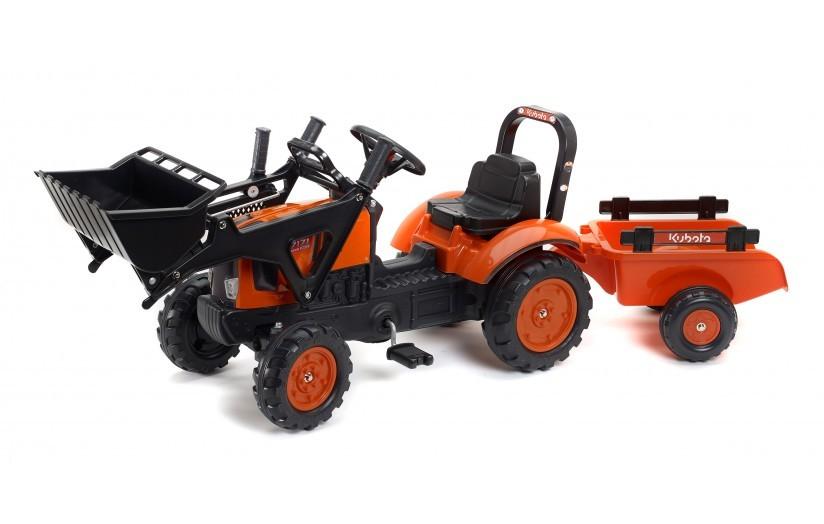 FALK - Šlapací traktor 2065 Kubota s nakladačem a vlečkou