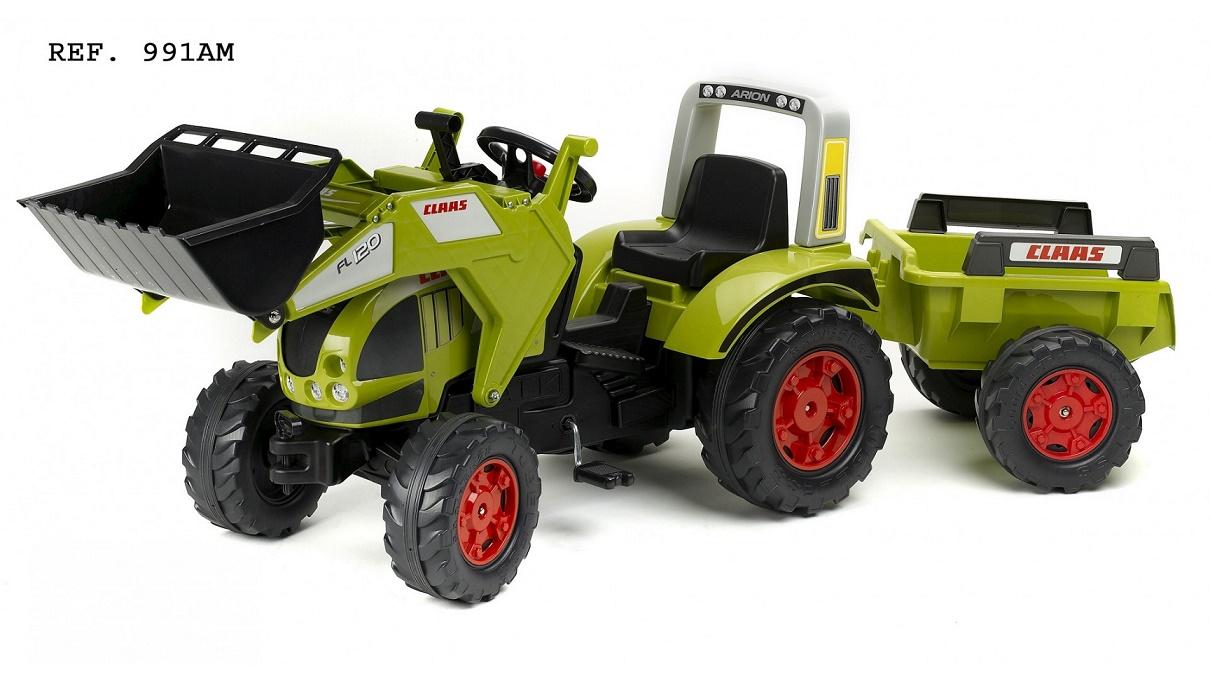 FALK - Šlapací traktor Claas Axos s nakladačem a vlečkou 991AM