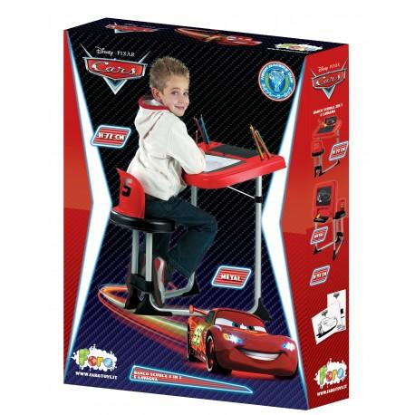 FARO - Dětská kovová lavice se židlí a tabulí 2v1 Cars 54817C