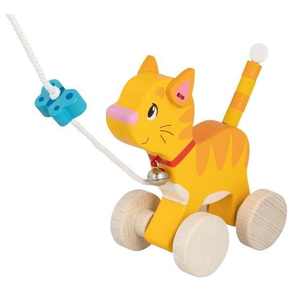GOKI - Edukační dřevěná hračka s rolničkou, 15 cm tahací - Kočička