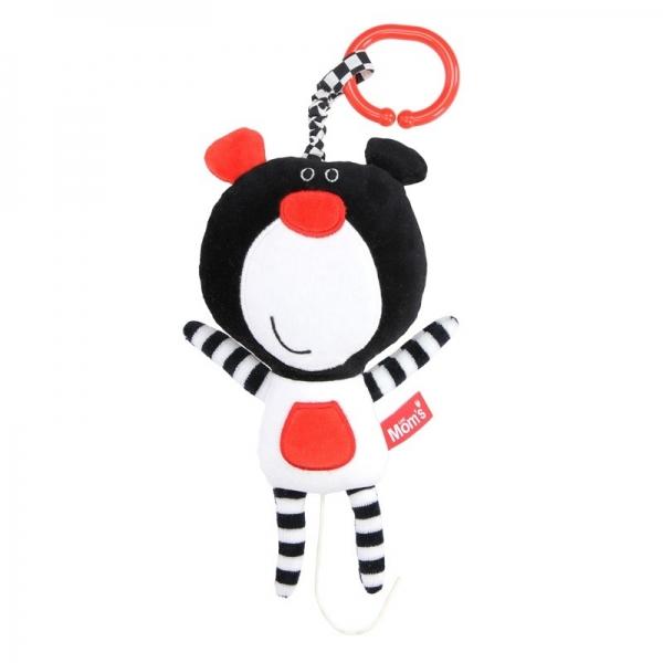 HENCZ TOYS - Závěsná edukační /plyšová hračka Méďa s melodií - černá