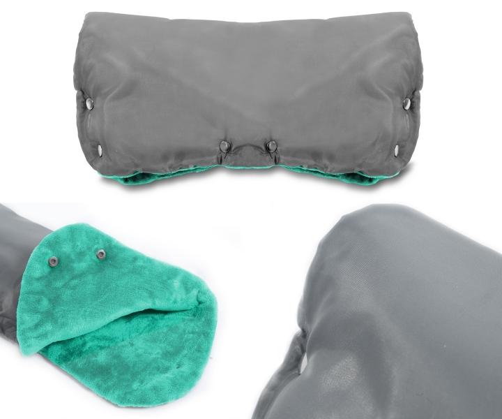 ICE BABY - Rukávník ke kočárku fleece - šedý/mátový