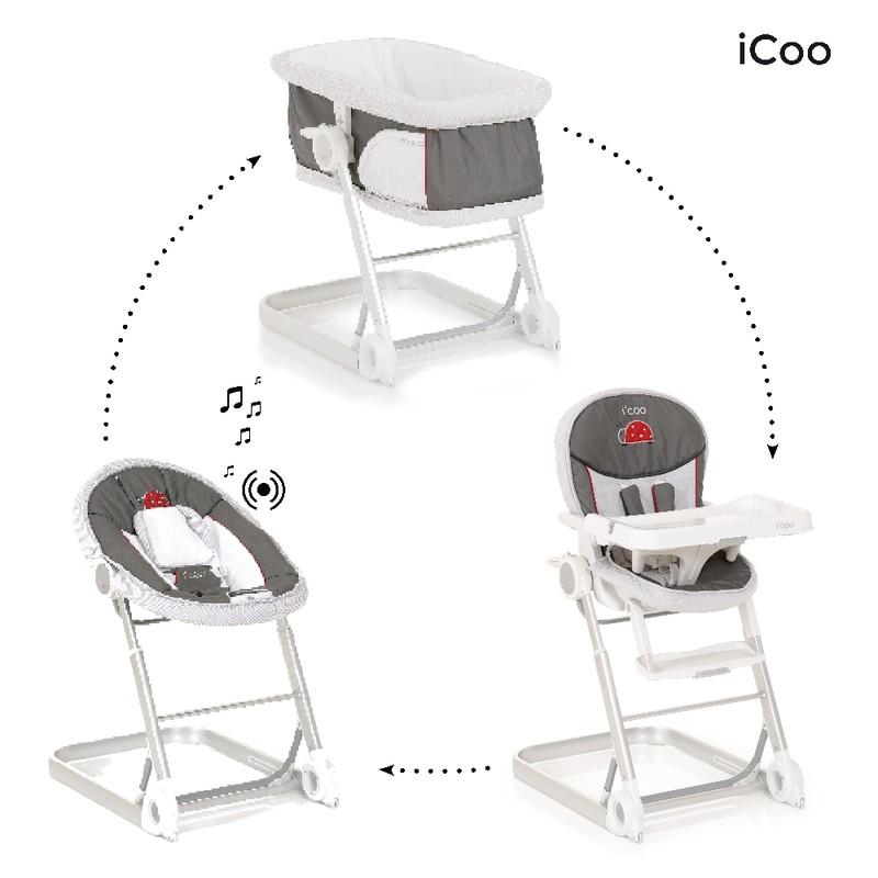 iCoo - Set kolébka, lehátko, stolička na krmení Grow with Me 1 2 3 - Bug 2018