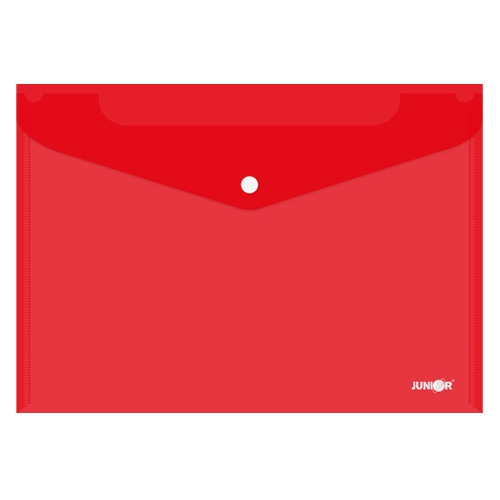 JUNIOR - Obal s patentkou PP / A4, průhledný / červený