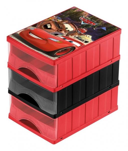 KEEEPER - Boxy na hračky - sada 3 šuplíků CARS