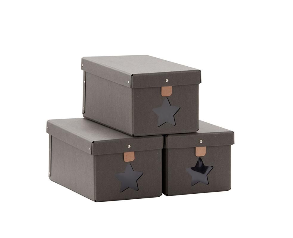 KIDS CONCEPT - Krabice na boty 3ks Grey