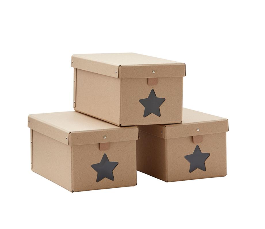 KIDS CONCEPT - Krabice na boty Natural 3ks
