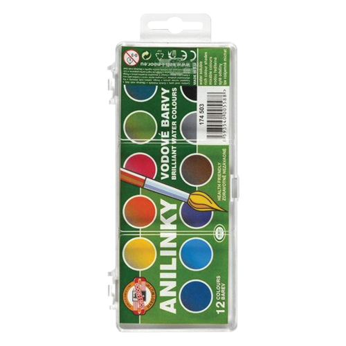 KOH-I-NOOR - Barvy vodové brilant 12 barev (anilínové)