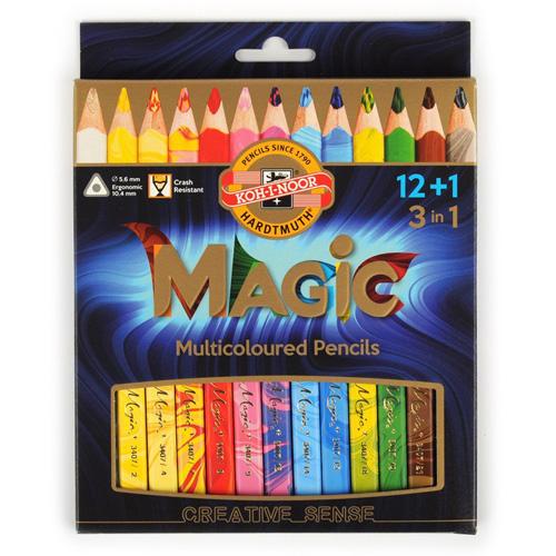 "KOH-I-NOOR - Pastelky trojhranné ""MAGIC 3408"" s vícebarevným tuhou sada 12 + 1 ks"