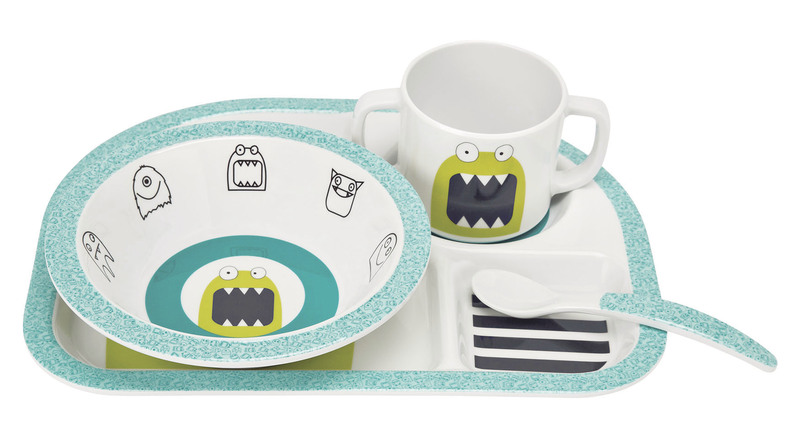 LÄSSIG - dětské nádobí, Dish Set with Silicone Little Monsters bouncing bob