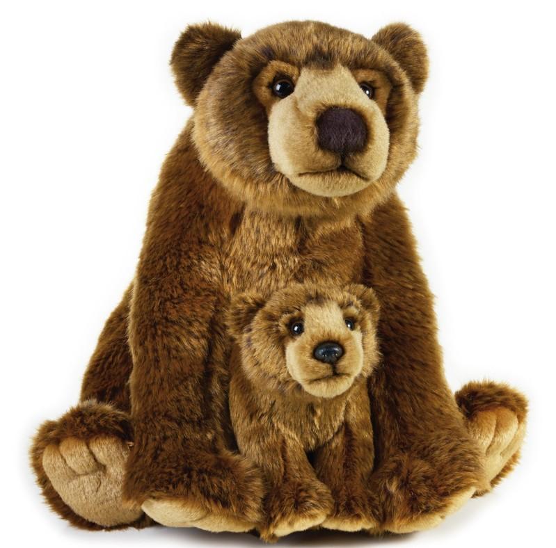 LELLY - National Geografic Zvířátka ze Severní Ameriky 770766 Medvěd Grizly s miminkem - 31 cm