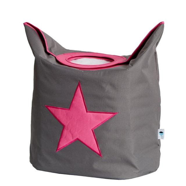 LOVE IT STORE IT - Box na prádlo - šedý, růžová hvězda