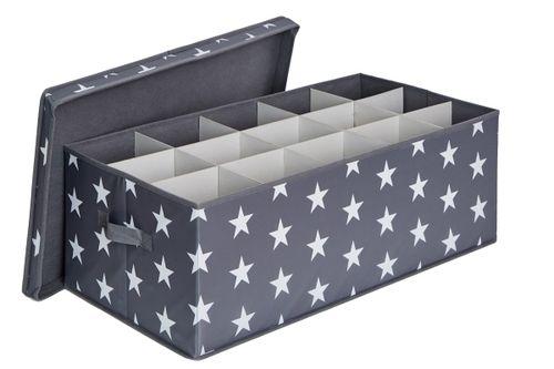 LOVE IT STORE IT - box na vánoční koule, hvězda, šedá