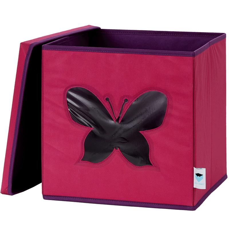 LOVE IT STORE IT - Úložný box na hračky s krytem a okénkem - motýl
