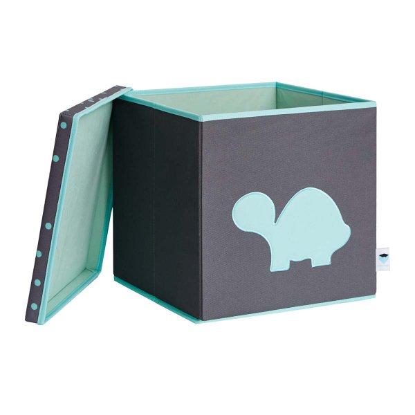 LOVE IT STORE IT - Úložný box na hračky s krytem - šedý, zelená želva