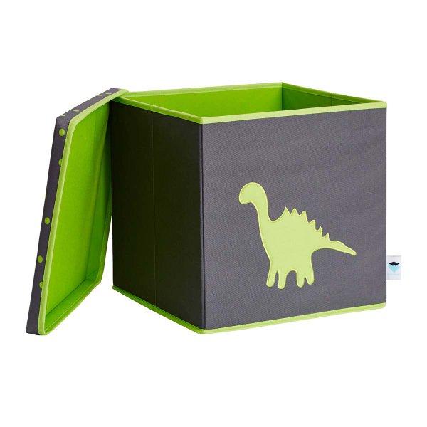 LOVE IT STORE IT - Úložný box na hračky s krytem - šedý, zelený dinosaurus