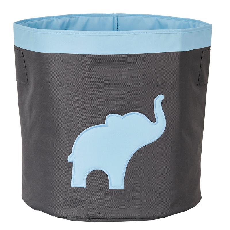 LOVE IT STORE IT - Velký úložný box na hračky, kulatý - šedý, modrý slon
