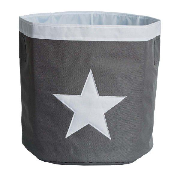 LOVE IT STORE IT - Velký úložný box, kulatý - šedý, bílá hvězda