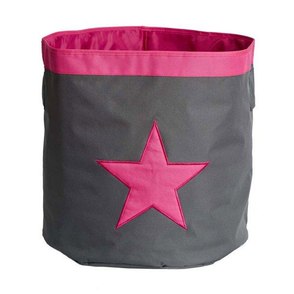 LOVE IT STORE IT - Velký úložný box, kulatý - šedý, růžová hvězda