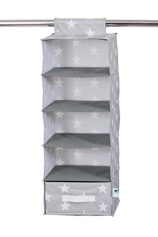 LOVE IT STORE IT - závěsný úložný box se zásuvkou, hvězda, šedá