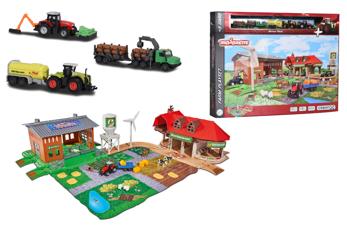 MAJORETTE - Creatix Velká farma + 5 vozidel