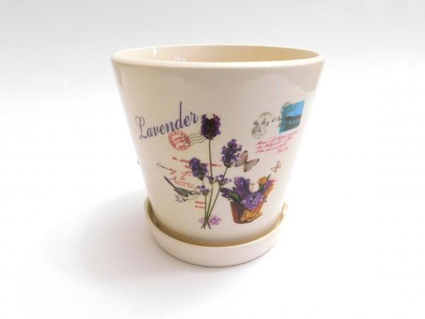 MAKRO - Květináč s miskou keramický 11cm LEVANDULE