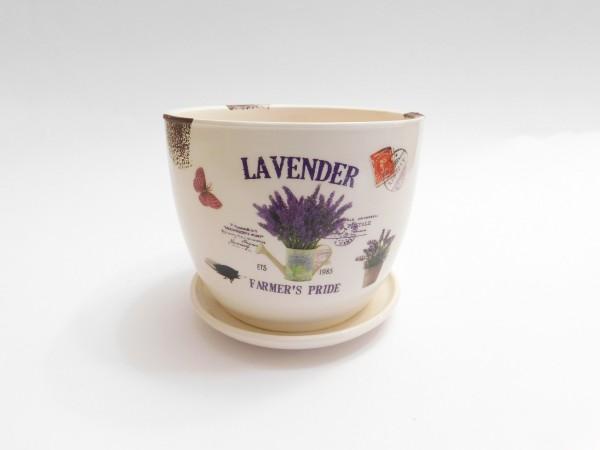 MAKRO - Květináč s miskou keramický 12cm LEVANDULE