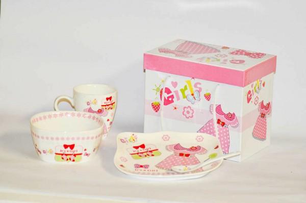 MAKRO - Sada dětská porcelán 3-dílná GIRL